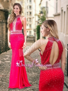 2016 Column High Neck Backless Beaded Coral Red Dama Dress