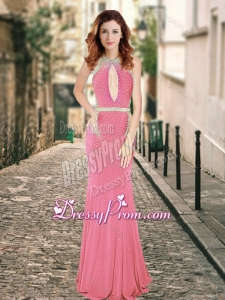 2016 High Neck Beaded Backless Pink Dama Dress with Brush Train
