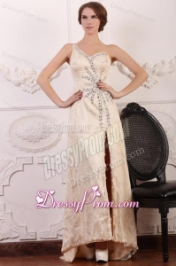Champagen Column One Shoulder Beaded High Slit Prom Dress