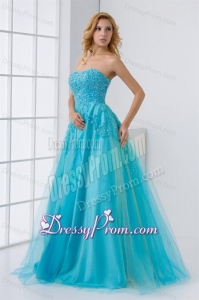 Gorgeous Princess Sweetheart Beading Tulle Aqua Blue Long Lace Up Prom Dress