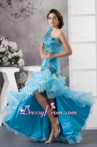 Mermaid One Shoulder Blue Appliques and Ruffled Layers Orange Prom Dress