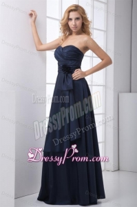 Simple Blue Column Sweetheart Floor-legnth Ruching Prom Dress