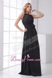 Simple Empire Halter Lace Chiffon Floor-length Black Prom Dress