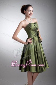 Simple Green Column Sweetheart Knee-length Ruching Prom Dress