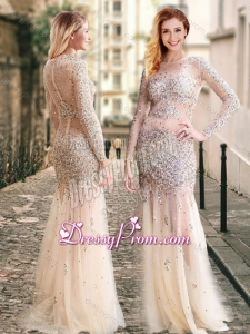 2016 Column High Neck Beaded Champagne Prom Dress with Long Sleeves