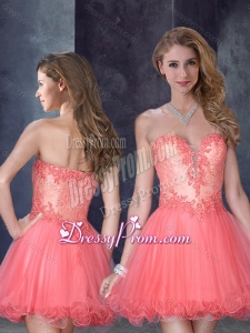 2016 Laced Watermelon Red Dama Dress with Beading and Appliques