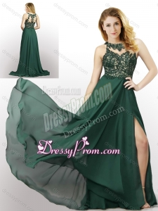 2016 New Style Empire Chiffon Laced and High Slit Dama Dress in Dark Green