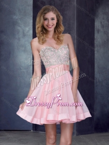 2016 New Style Short Sweetheart Baby Pink Dama Dress with Beading