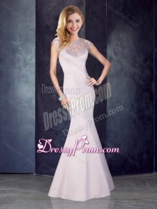 2016 See Through Back Beaded Mermaid Champagne Dama Dress in Satin