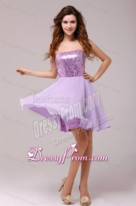 Purple Strapless Sequins Chiffon Knee-length Prom Dress