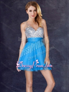 2016 Hot Sale Backless Chiffon Baby Blue Short Prom Dress with Sequins
