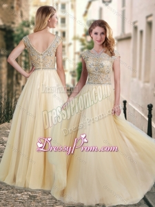 2016 Lovely A Line Beaded Bodice Scoop Prom Dress in Champagne
