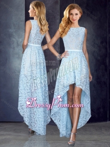 2016 Bateau High Low Light Blue Clearance Prom Dress in Lace