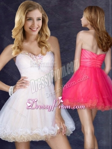 2016 Clearance Short Sweetheart Prom Dress with Beading in Organza