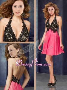 2016 Popular Halter Top Backless Laced Christmas Party Dress in Coral Red and Black