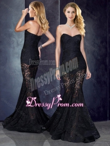 2016 Short Inside Long Outside Mermaid Black Clearance Prom Dress in Lace