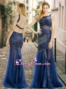 2016 Column Square Beaded Backless Navy Blue Quinceanera Dama Dresses in Tulle