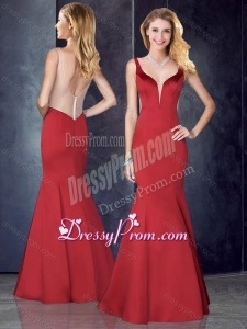2016 Simple Mermaid Straps Satin Red Prom Dress with See Through Back
