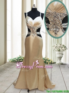 2017 Gorgeous Cut Out Waist Mermaid Straps Criss Cross Prom Dress in Elastic Woven Satin