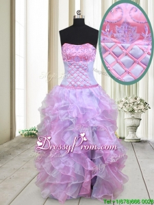 2017 Gorgeous Strapless Lavender and Lilac Organza Prom Dress with Beading and Ruffles