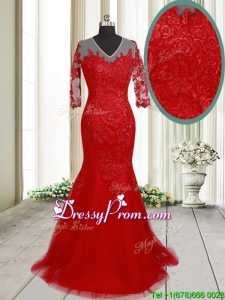 2017 Lovely Mermaid V Neck Brush Train Laced Red Prom Dress with Half Sleeves