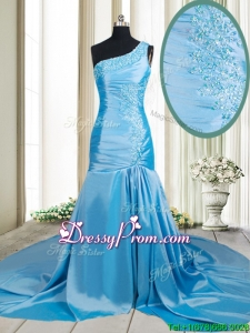 2017 Lovely Zipper Up Mermaid One Shoulder Applique Prom Dress with Brush Train