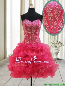 2017 New Arrivals Visible Boning Beaded Bodice and Ruffled Hot Pink Prom Dress