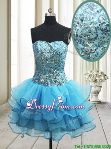 2017 Popular Zipper Up Baby Blue Short Prom Dress with Sequins and Ruffled Layers