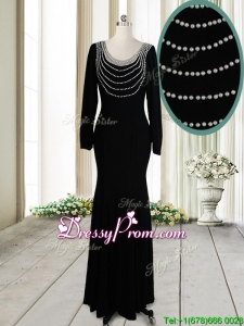 2017 Pretty Column Scoop Pearled Backless Black Prom Dress with Long Sleeves
