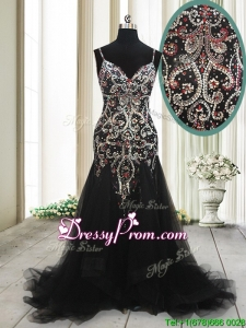 Fashionable Spaghetti Straps Beaded Tulle Black Prom Dress with Brush Train