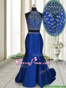 Fashionable Two Piece Criss Cross Brush Train Royal Blue Prom Dress with Beading
