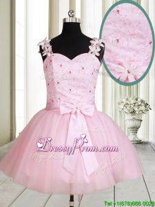 New Applique Decorated Straps Baby Pink Short Prom Dress with Beading and Bowknot