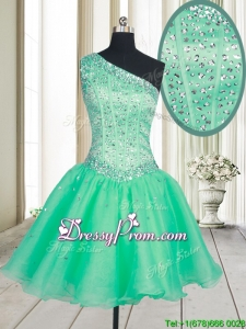 Visible Boning One Shoulder Beaded Bodice Organza Prom Dress in Turquoise