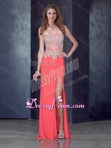 2016 Vintage Column Watermelon Red Prom Dress with High Slit and Appliques