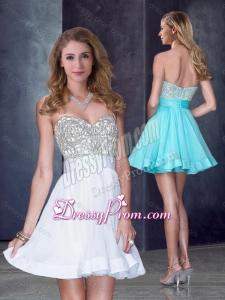 2016 Vintage Short Sweetheart White Prom Dress with Beading in Organza