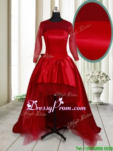 Best Selling See Through Scoop High Low Bowknot Prom Dress in Wine Red