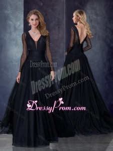 2016 Vintage Deep V Neckline See Through Black Prom Dress with Brush Train