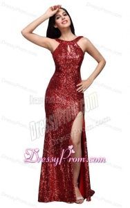 Column Scoop Wine Red Sequins High Slit Brush Train Prom Dress