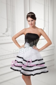 White and Black A-line Strapless Mini-length Organza Prom Dress with Ruffled Layers