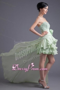 A-line Sweetheart High-low Green Beading Chiffon Prom Dress
