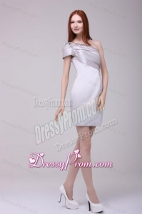 Gray One Shoulder Beading and Ruching Short Prom Dress
