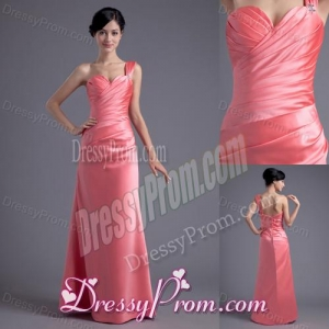 Column One Shoulder Ruching Satin Watermelon Red Prom Dress