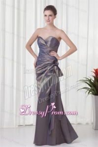 Elegant Column Grey Sweetheart Long Taffeta Prom Dress with Ruching