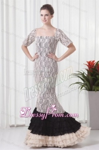 Mermaid Square Champagne Lace Floor-length Prom Dress with Short Sleeves