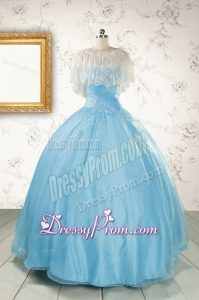 2015 Puffy Beading Baby Blue Quinceanera Dress with Wraps