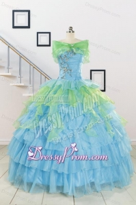 Wonderful Multi Color Strapless Beading Quinceanera Dress for 2015