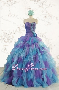 2015 New Style Multi Color Quinceanera Dresses with Beading