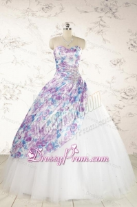 2015 Printed Multi Color Quinceanera Dresses with Beading and Ruching