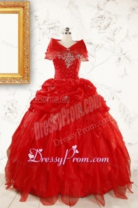 Sweetheart Ball Gown Beading 2015 Prefect Red Quinceanera Dresses