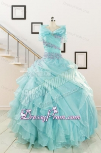 Sweetheart Organza Beading and Ruffles Quinceanera Dresses for 2015